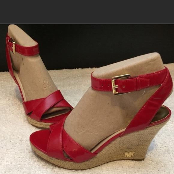 b0bdb80a594 Michael Kors Red Espadrille Wedge Sandal 8.5. M 5af8f6932c705db64365e877